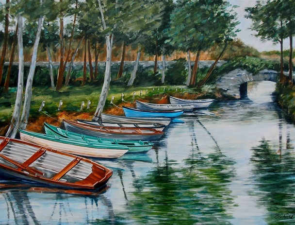 "Boats for Rent: Killarney, Ireland 36 x 48"" Acrylic on Canvas by Charlotte Schuld"