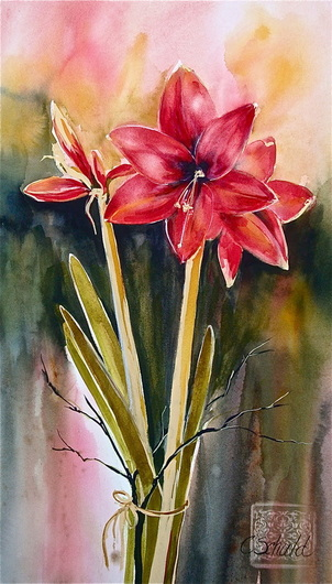 """Amaryllis"" by Charlotte Schuld 17 x 28"" Watercolor $615"